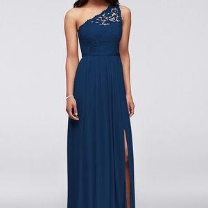 David's Bridal Lace One Shoulder Dress